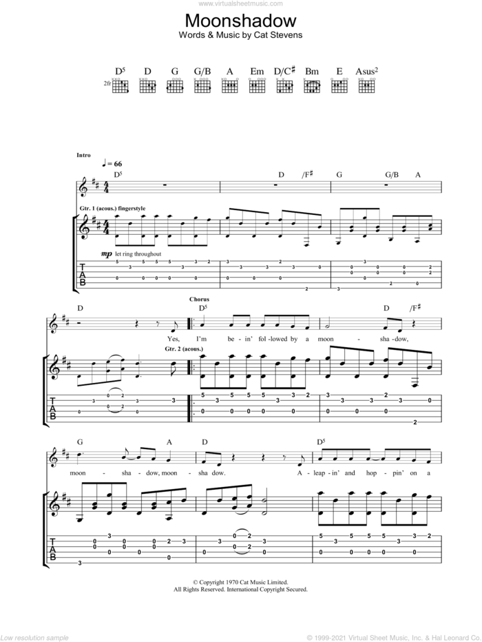 Moonshadow sheet music for guitar (tablature) by Cat Stevens, intermediate skill level