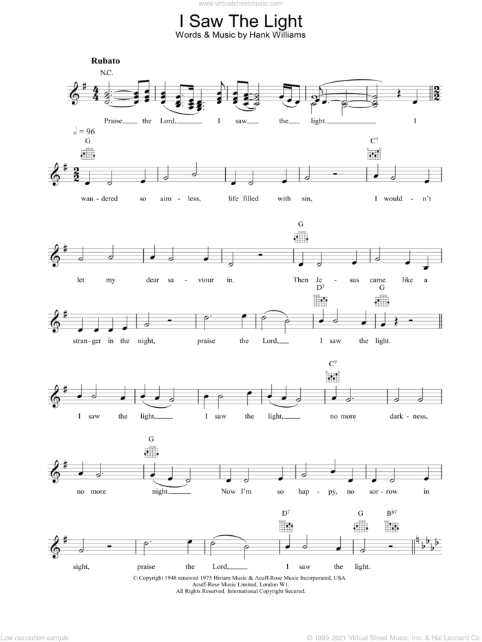 I Saw The Light sheet music for voice and other instruments (fake book) by Hank Williams, intermediate skill level