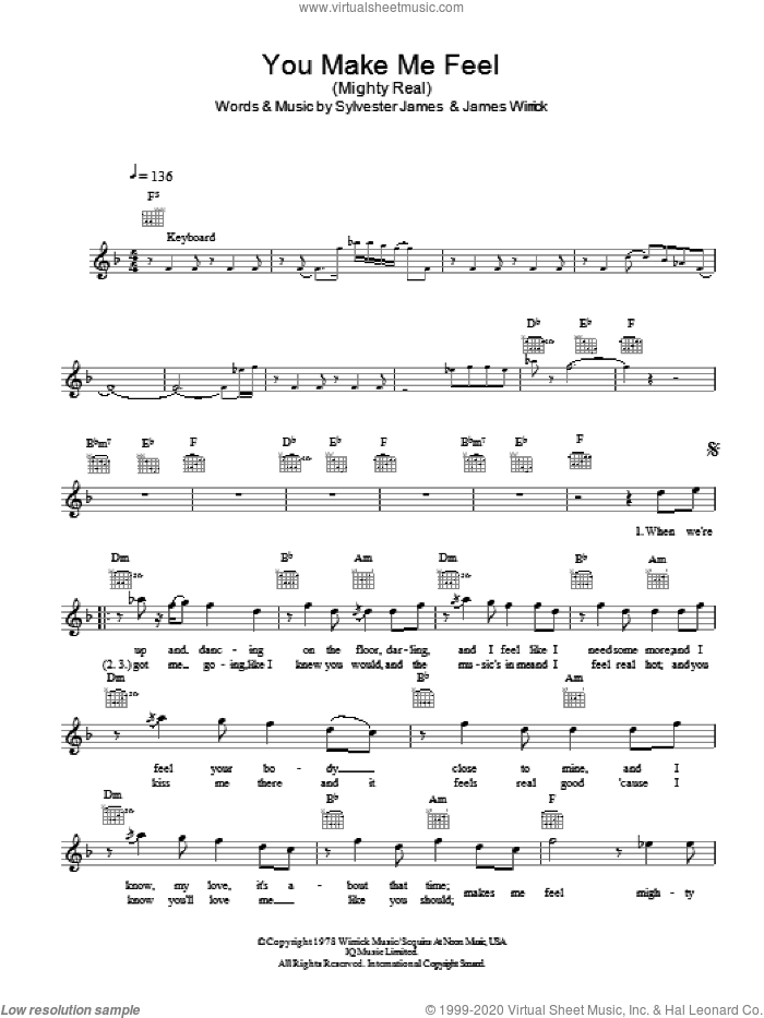 You Make Me Feel (Mighty Real) sheet music for voice and other instruments (fake book) by Jimmy Somerville and Sylvester, intermediate skill level