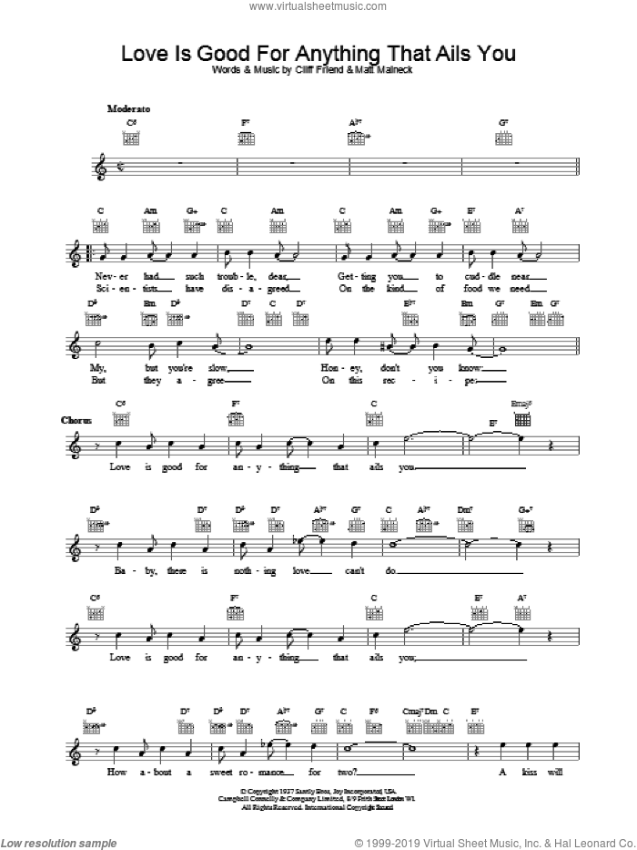Love Is Good For Anything That Ails You sheet music for voice and other instruments (fake book) by Artie Shaw, intermediate skill level