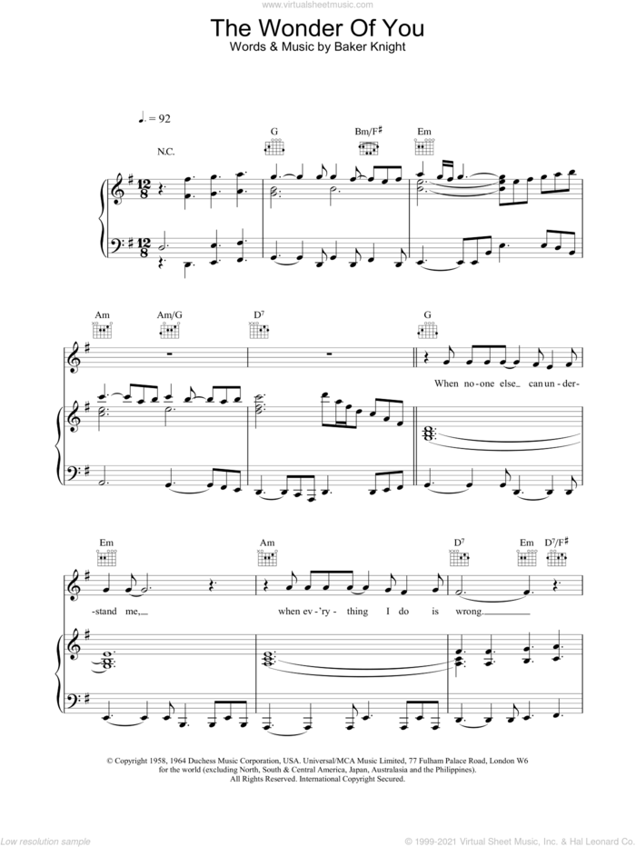 The Wonder Of You sheet music for voice, piano or guitar by Elvis Presley and Baker Knight, intermediate skill level