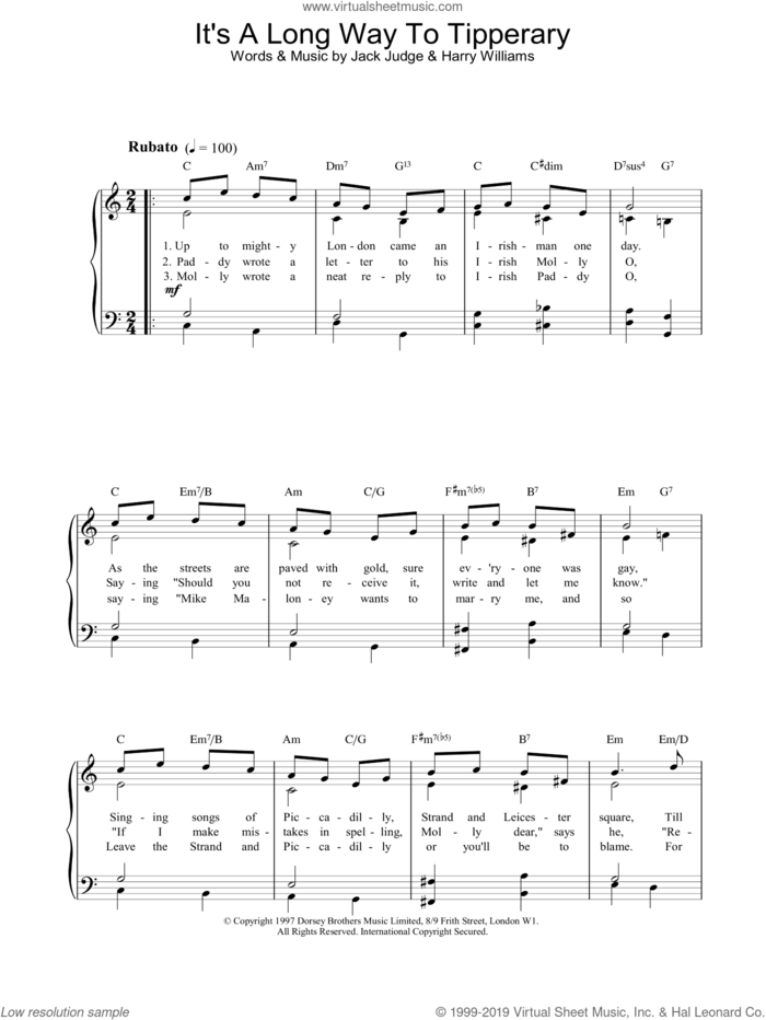 It's A Long Way To Tipperary sheet music for piano solo by Jack Judge and Harry Williams, easy skill level