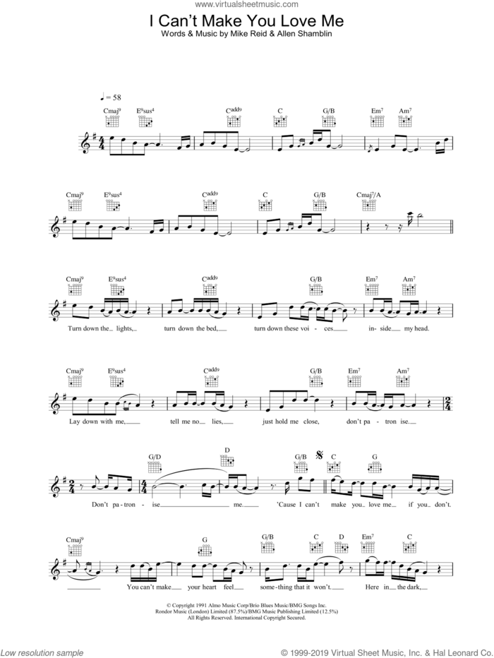 I Can't Make You Love Me sheet music for voice and other instruments (fake book) by George Michael, Bonnie Raitt, Allen Shamblin and Mike Reid, intermediate skill level