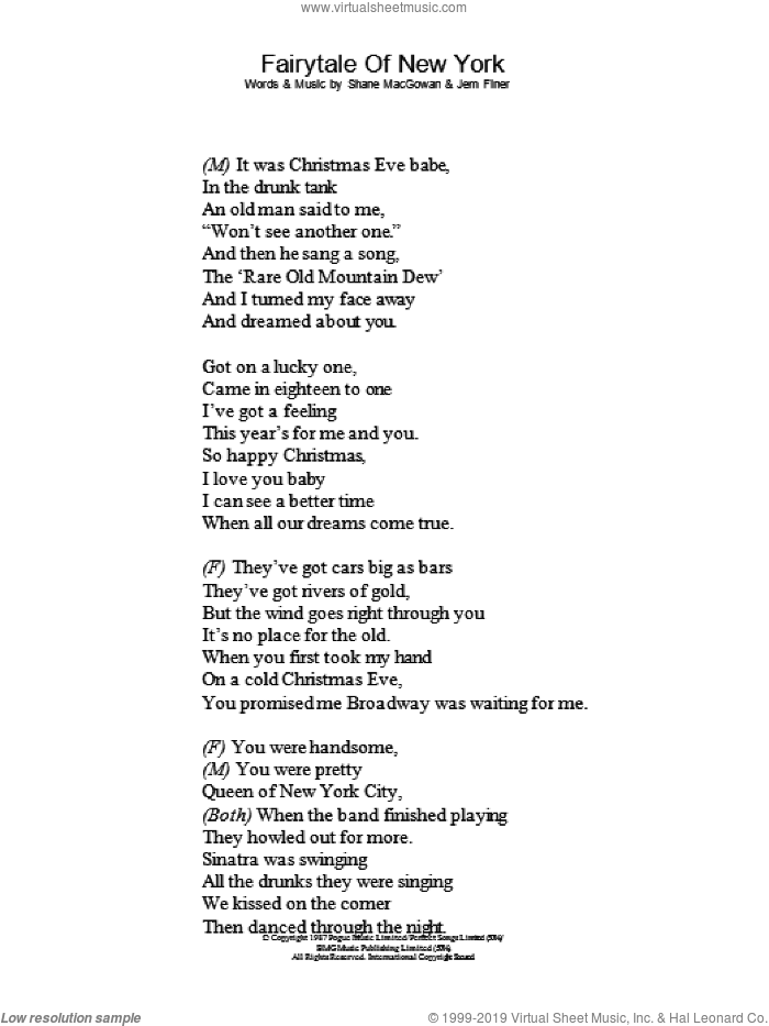 Fairytale Of New York sheet music for voice and other instruments (lyrics only) by Kirsty McColl, Kirsty MacColl, The Pogues and Shane MacGowan, intermediate skill level