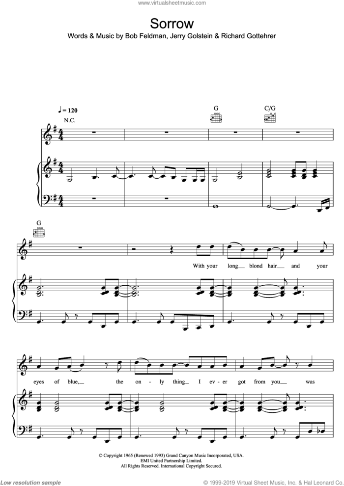 Sorrow sheet music for voice, piano or guitar by David Bowie, Bob Feldman, Jerry Goldstein and Richard Gottehrer, intermediate skill level