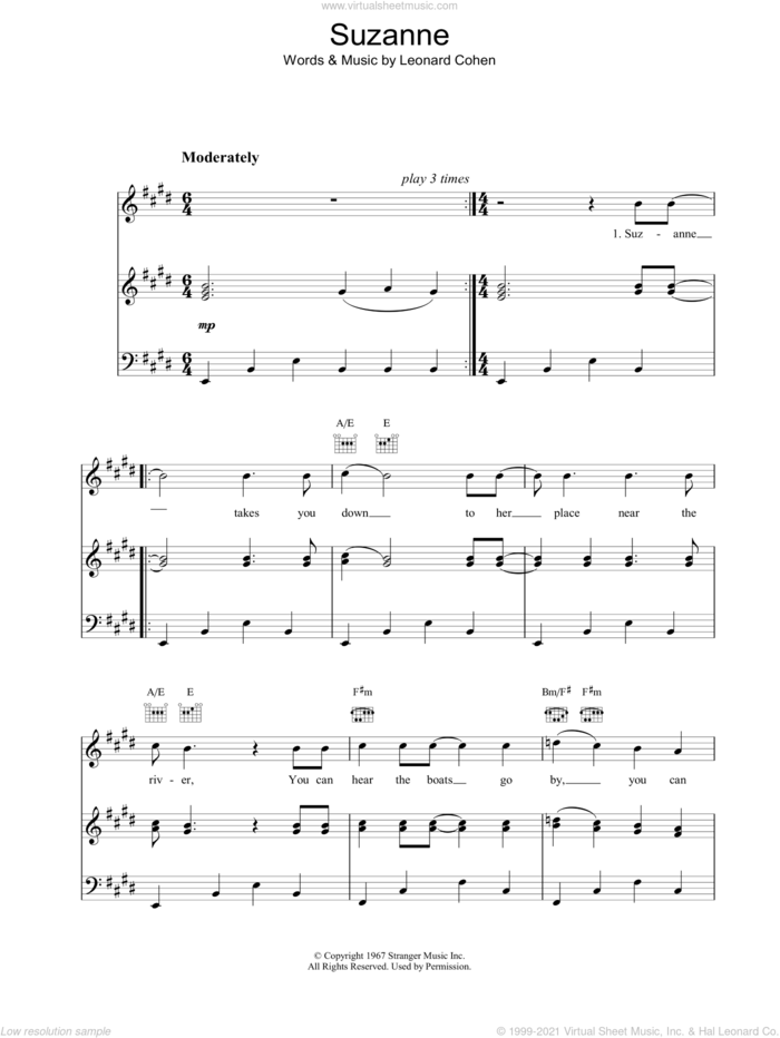 Suzanne sheet music for voice, piano or guitar by Leonard Cohen, intermediate skill level