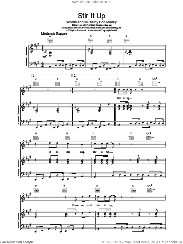 Stir It Up sheet music for voice, piano or guitar by Bob Marley, intermediate skill level
