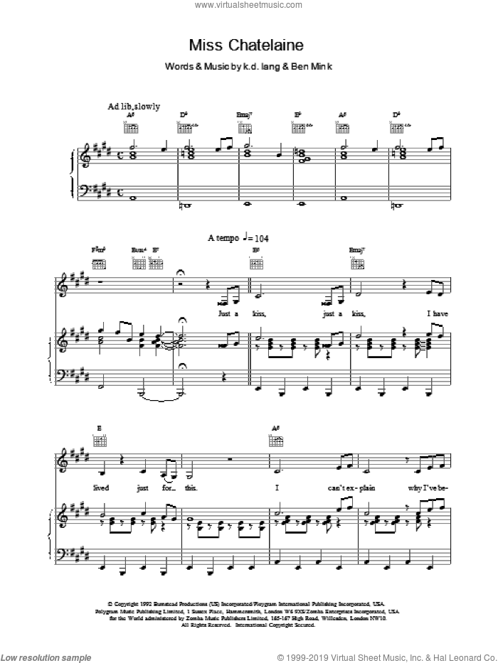 Miss Chatelaine sheet music for voice, piano or guitar by K.D. Lang, intermediate skill level