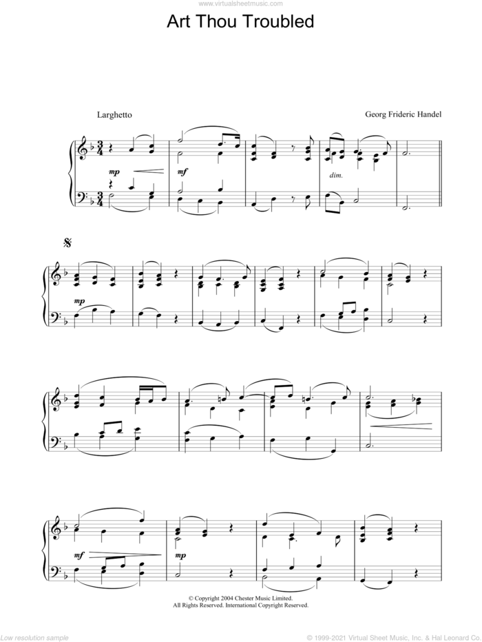 Art Thou Troubled sheet music for piano solo by George Frideric Handel, classical score, intermediate skill level