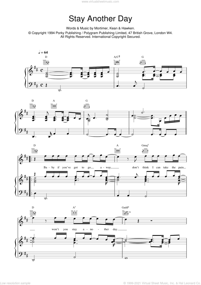 Stay Another Day sheet music for voice, piano or guitar by East 17, Dominic Hawken, Rob Kean and Tony Mortimer, intermediate skill level