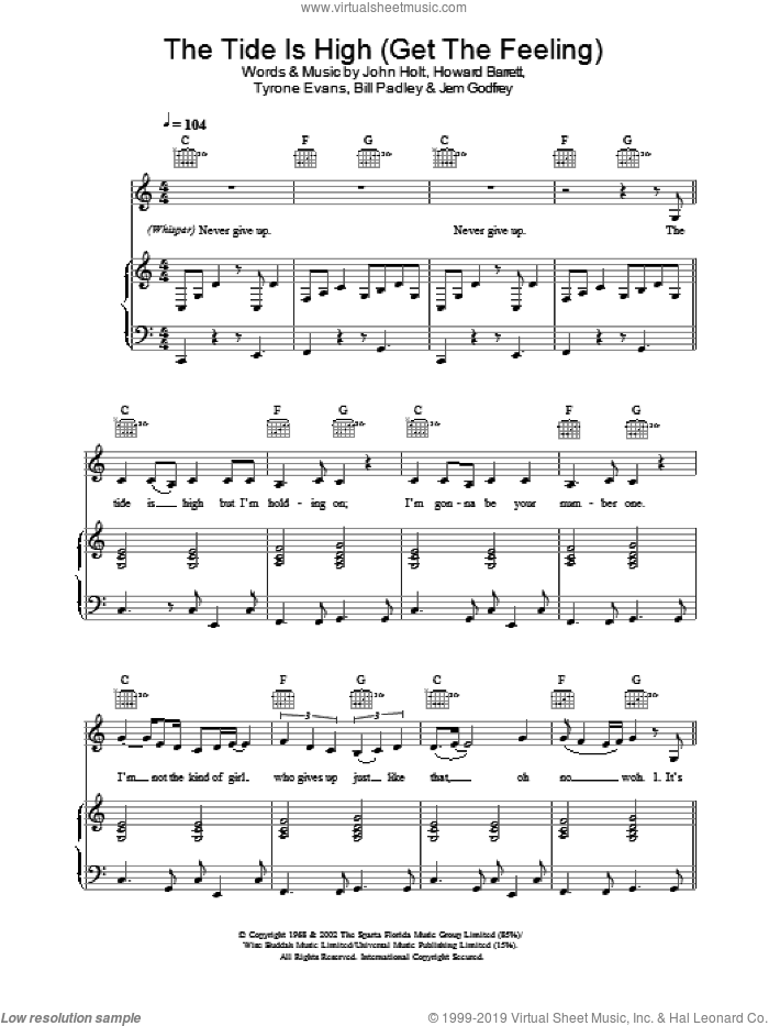 The Tide Is High (Get The Feeling) sheet music for voice, piano or guitar by Atomic Kitten, intermediate skill level
