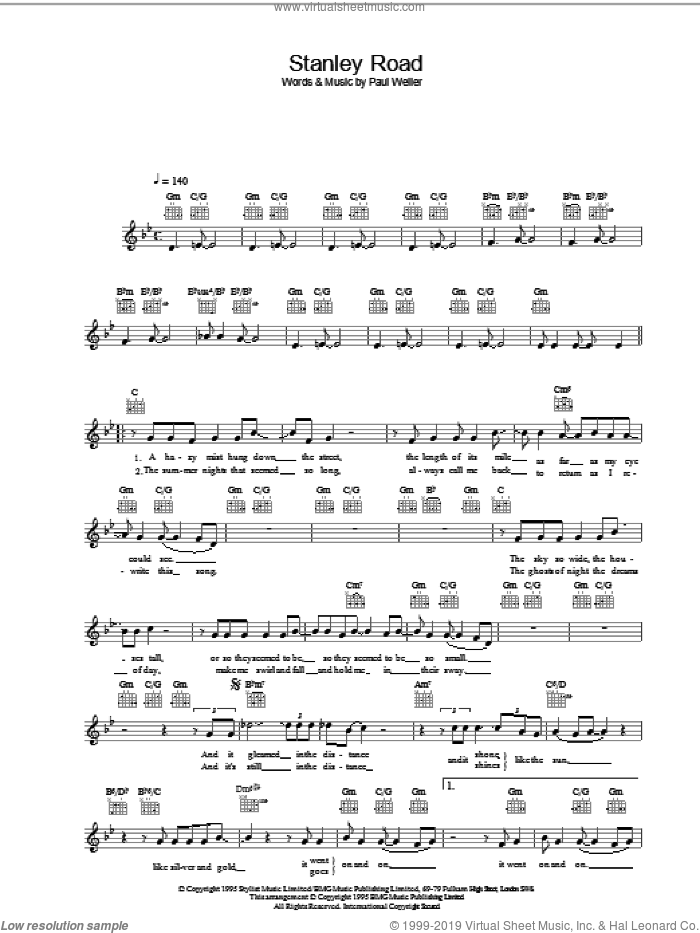 Stanley Road sheet music for voice and other instruments (fake book) by Paul Weller, intermediate skill level