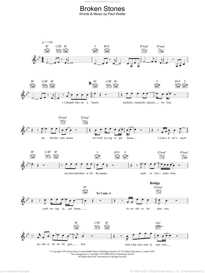 Broken Stones sheet music for voice and other instruments (fake book) by Paul Weller, intermediate skill level