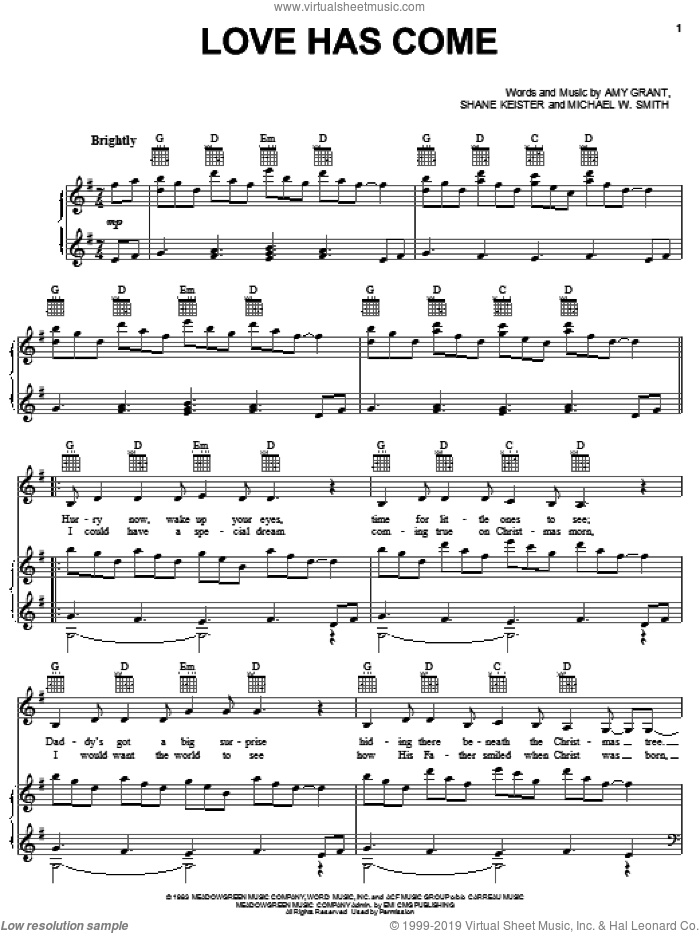 Love Has Come sheet music for voice, piano or guitar by Amy Grant, Michael W. Smith and Shane Keister, intermediate skill level
