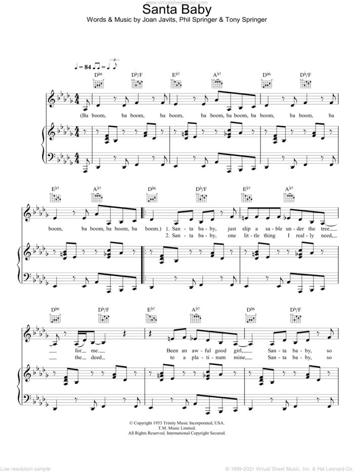 Santa Baby sheet music for voice, piano or guitar by Eartha Kitt, Joan Javits, Phil Springer and Tony Springer, intermediate skill level