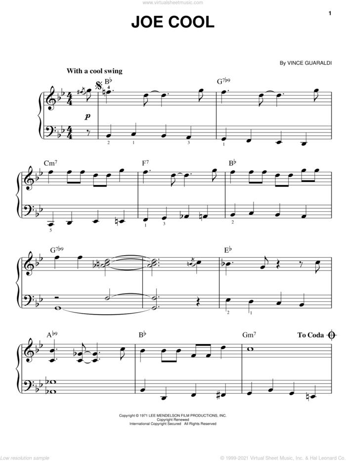 Joe Cool sheet music for piano solo by Vince Guaraldi, easy skill level