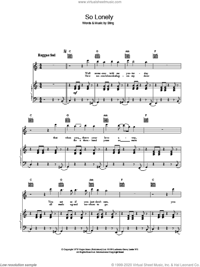 So Lonely sheet music for voice, piano or guitar by The Police and Sting, intermediate skill level