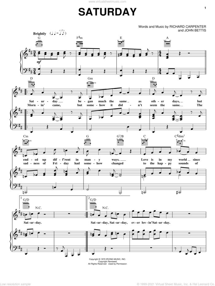 Saturday sheet music for voice, piano or guitar by Carpenters, John Bettis and Richard Carpenter, intermediate skill level