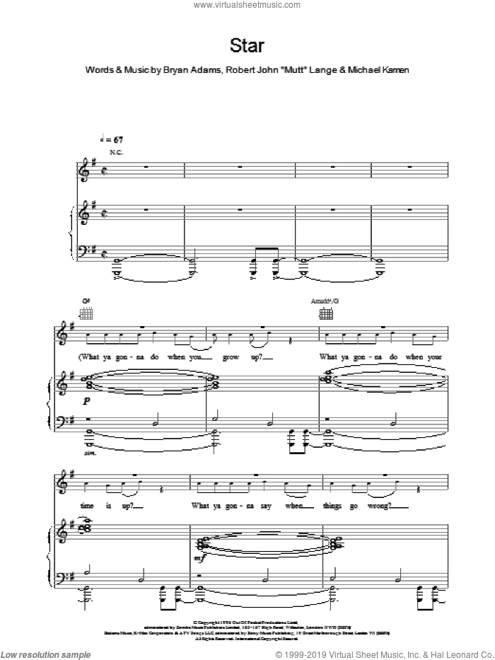 Star sheet music for voice, piano or guitar by Bryan Adams, intermediate skill level