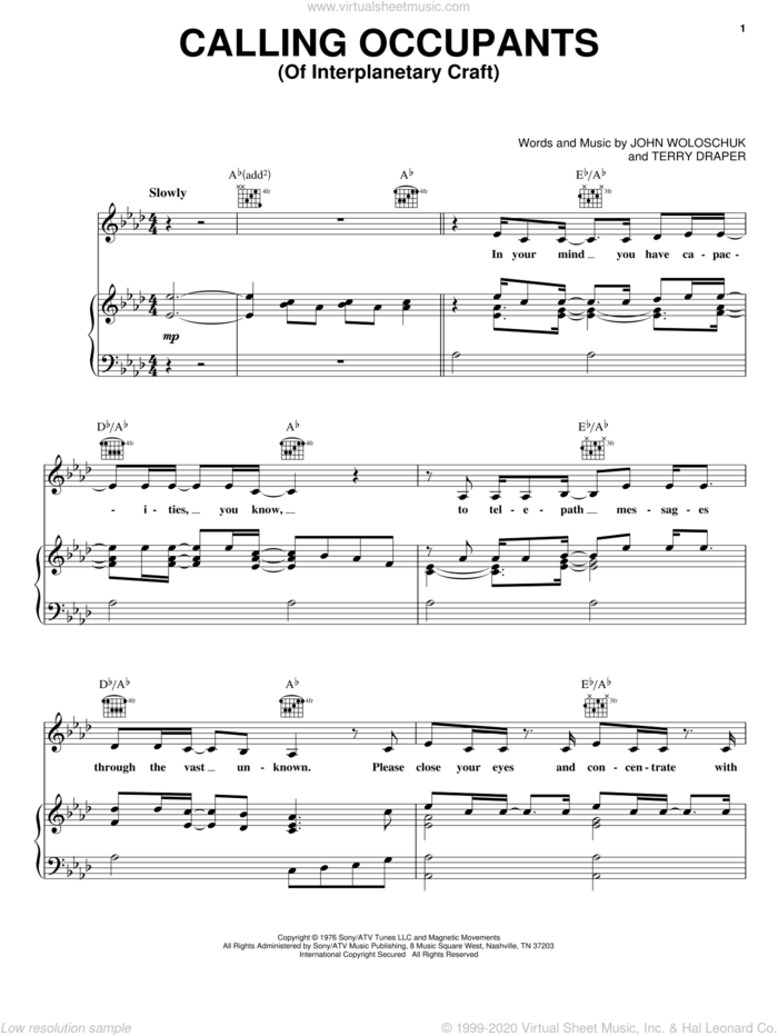 Calling Occupants (Of Interplanetary Craft) sheet music for voice, piano or guitar by Carpenters, John Woloschuk and Terry Draper, intermediate skill level