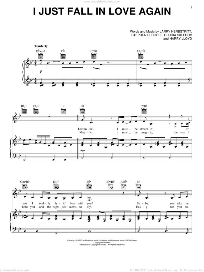 I Just Fall In Love Again sheet music for voice, piano or guitar by Carpenters, Anne Murray, Gloria Sklerov, Harry Lloyd, Larry Herbstritt and Steve Dorff, wedding score, intermediate skill level