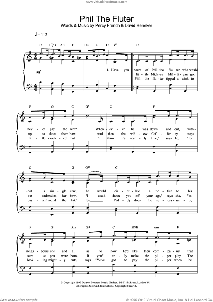 Phil The Fluter sheet music for voice, piano or guitar by Percy French, David Hencker and David Heneker, intermediate skill level