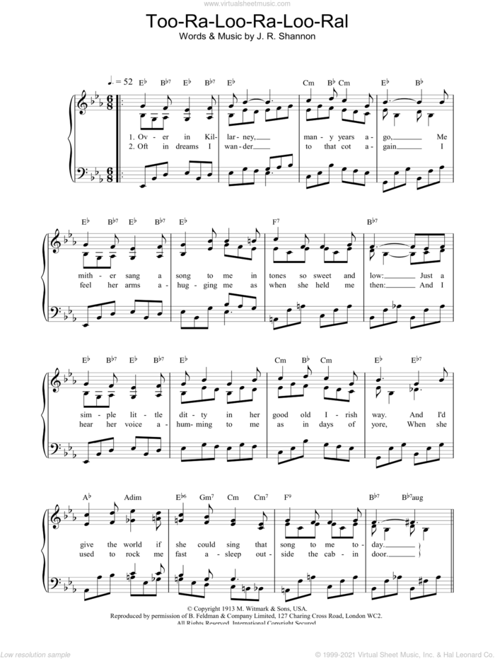 Too Ra Loo Ra Loo Ral sheet music for voice, piano or guitar by James R. Shannon, intermediate skill level