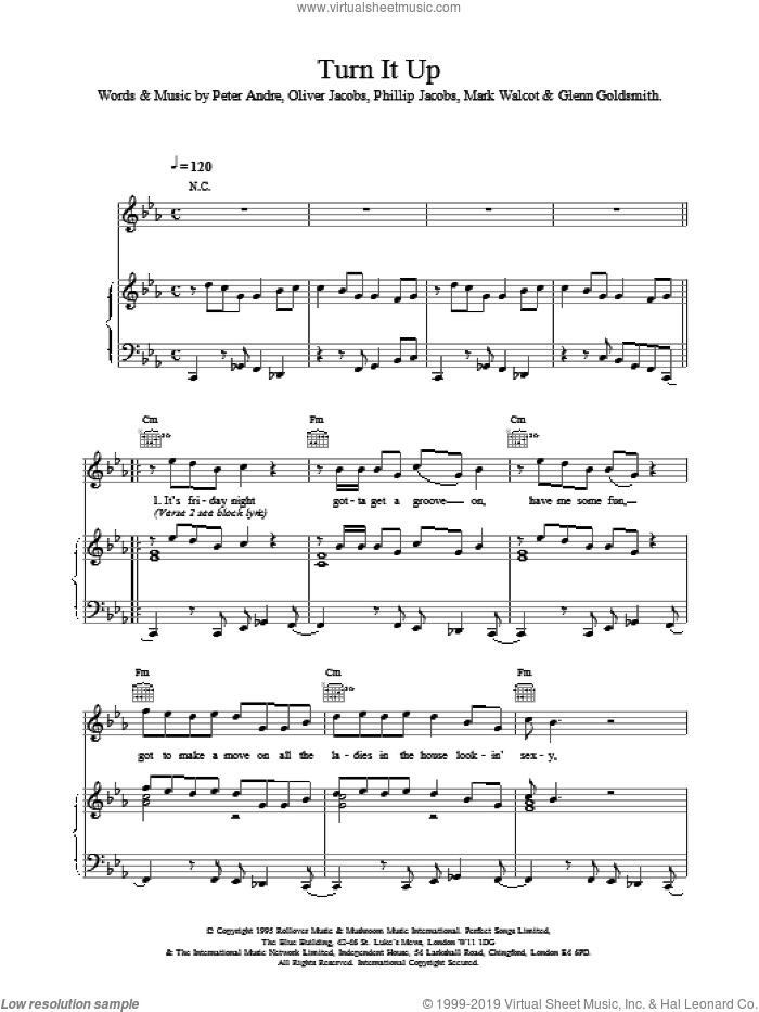Turn It Up sheet music for voice, piano or guitar by Peter Andre, intermediate skill level