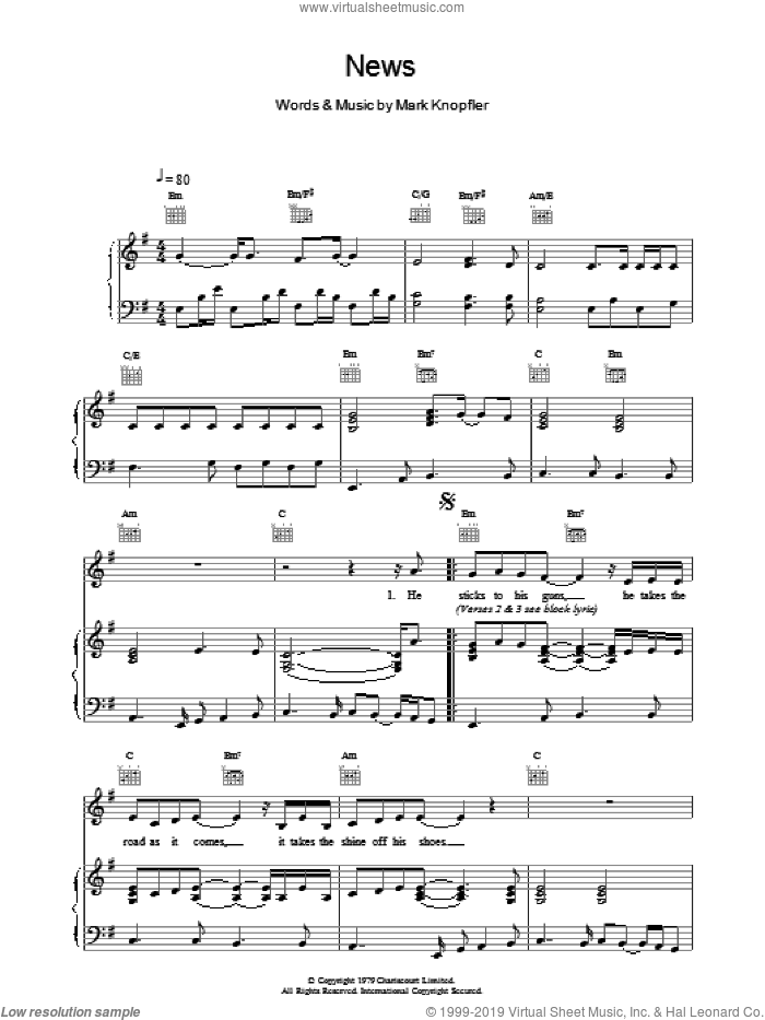 News sheet music for voice, piano or guitar by Dire Straits, intermediate skill level