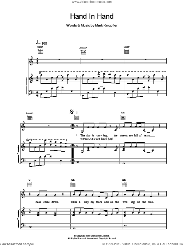 Hand In Hand sheet music for voice, piano or guitar by Dire Straits, intermediate skill level
