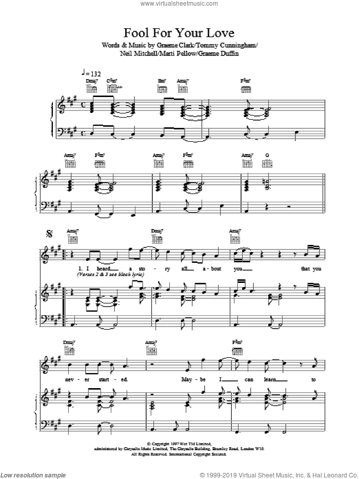 Fool For Your Love sheet music for voice, piano or guitar by Wet Wet Wet, intermediate skill level