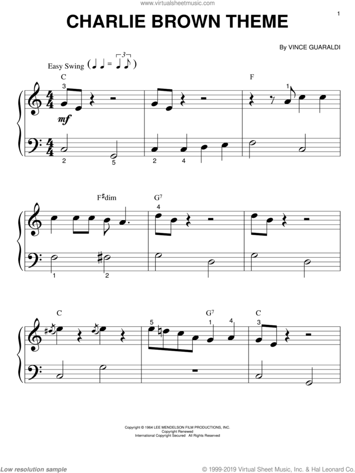 Charlie Brown Theme sheet music for piano solo (big note book) by Vince Guaraldi, easy piano (big note book)