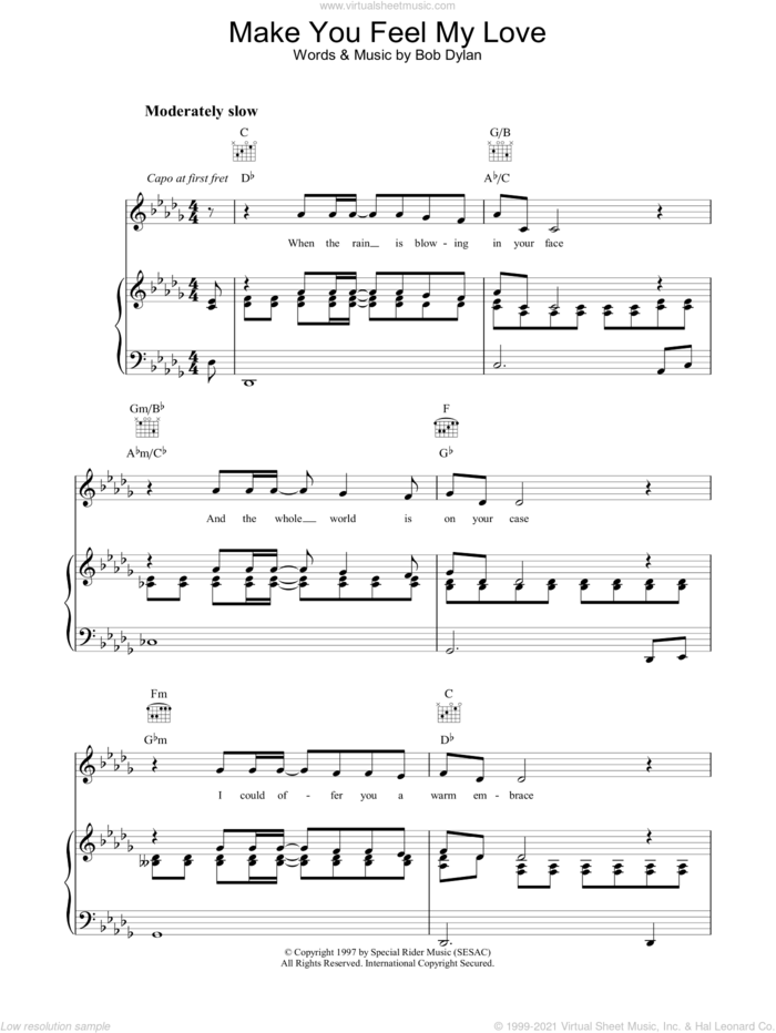Make You Feel My Love sheet music for voice, piano or guitar by Bob Dylan, intermediate skill level