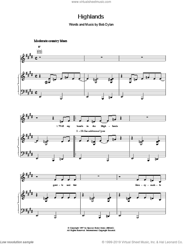 Highlands sheet music for voice, piano or guitar by Bob Dylan, intermediate skill level