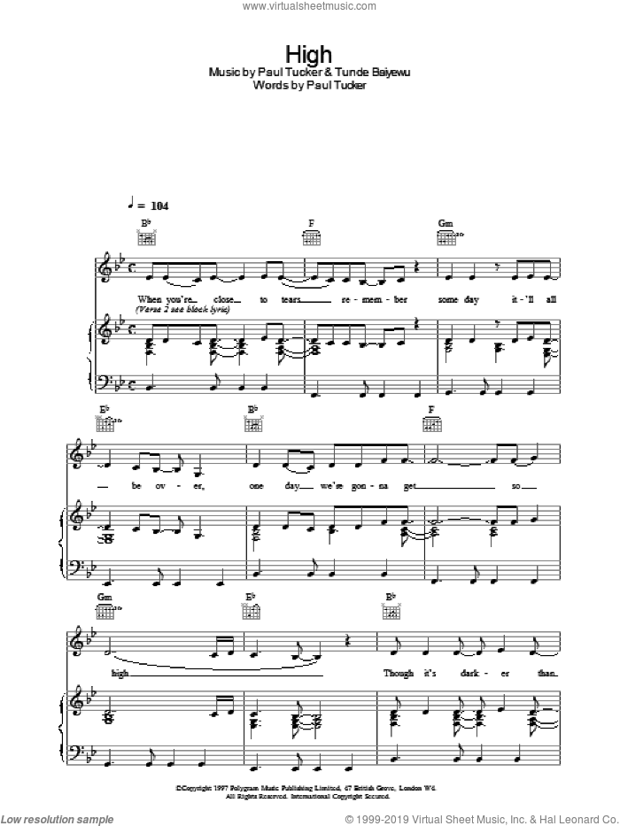 High sheet music for voice, piano or guitar by Lighthouse Family, intermediate skill level