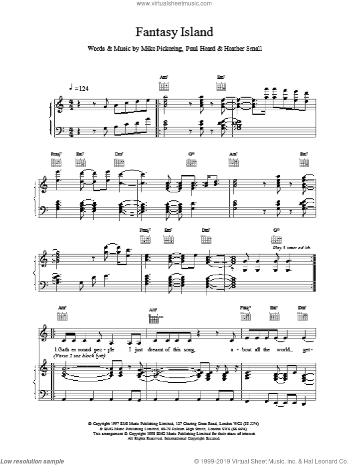Fantasy Island sheet music for voice, piano or guitar by M People, intermediate skill level