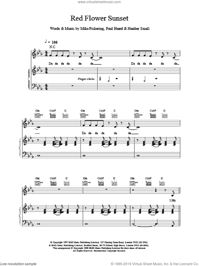 Red Flower Sunset sheet music for voice, piano or guitar by M People, intermediate skill level