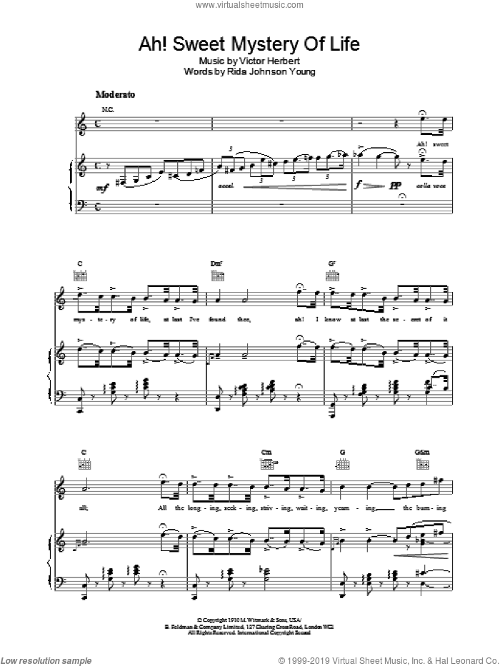 Ah! Sweet Mystery Of Life sheet music for voice, piano or guitar, intermediate skill level