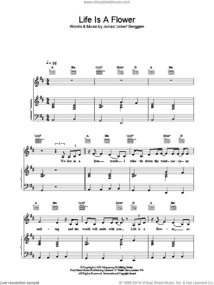 Life is a Flower sheet music for voice, piano or guitar by Ace Of Base, intermediate skill level