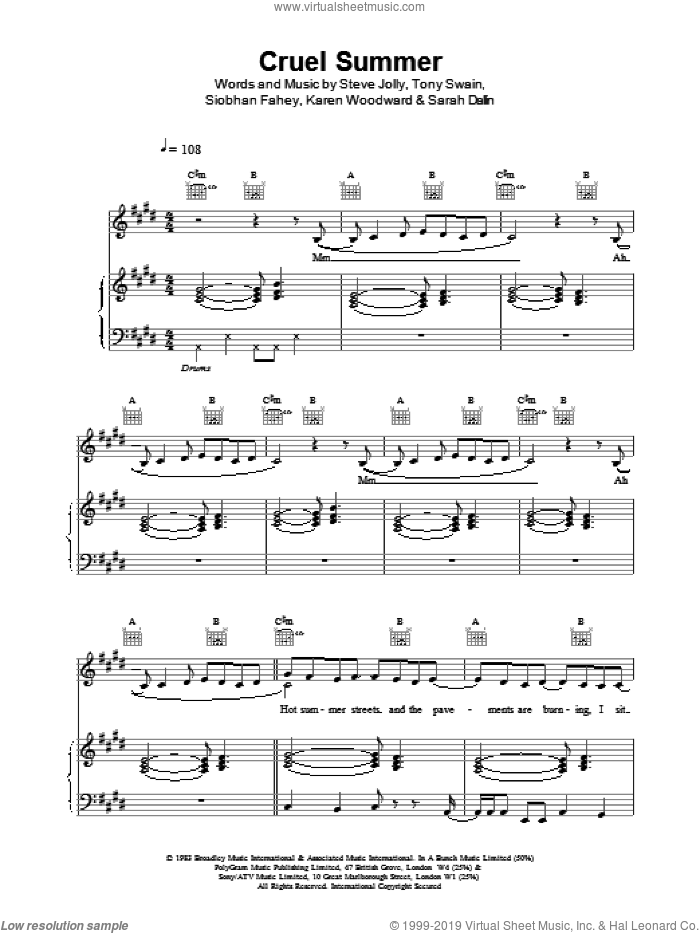 Cruel Summer sheet music for voice, piano or guitar by Ace Of Base, intermediate skill level