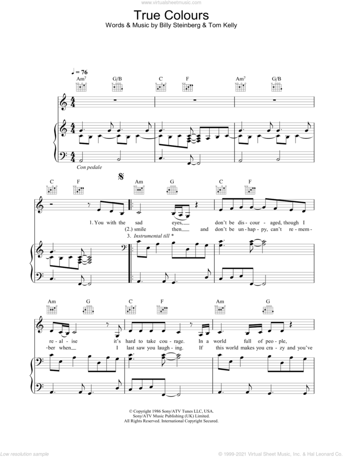 True Colours sheet music for voice, piano or guitar by Eva Cassidy, intermediate skill level