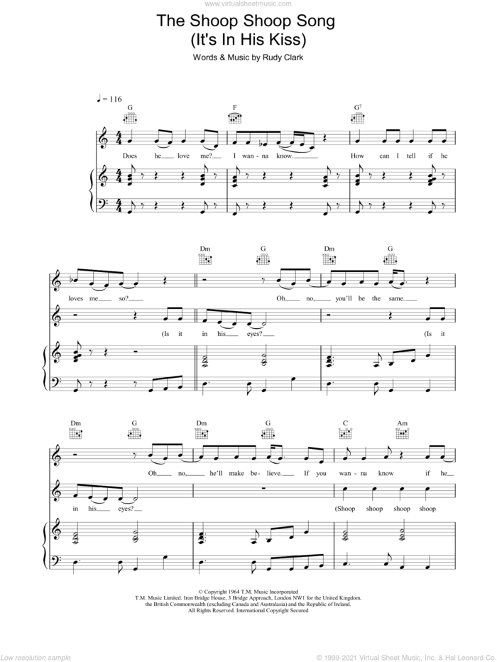 The Shoop Shoop Song  (It's In His Kiss) sheet music for voice, piano or guitar by Cher, intermediate skill level