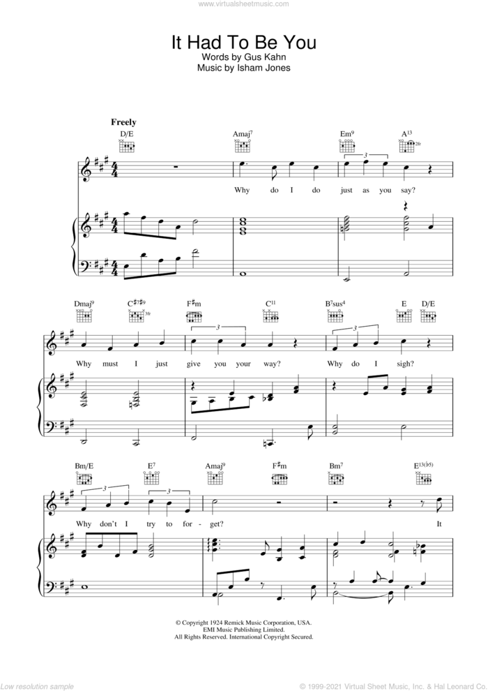 It Had To Be You sheet music for voice, piano or guitar by Rod Stewart, intermediate skill level