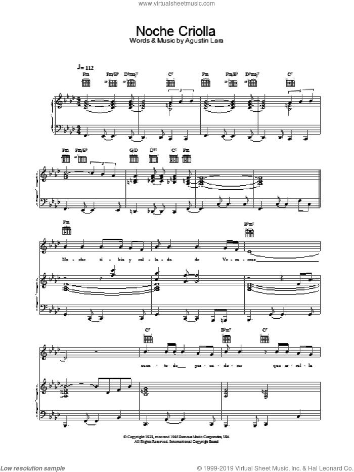 Noche Criolla sheet music for voice, piano or guitar by Placido Domingo, classical score, intermediate skill level