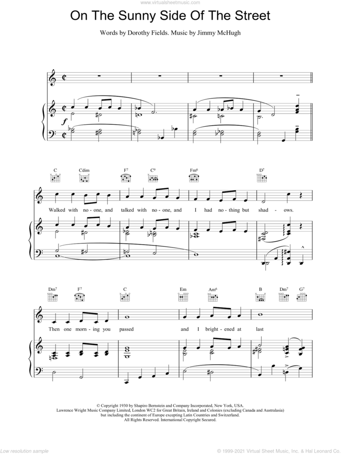 On The Sunny Side Of The Street sheet music for voice, piano or guitar by Frank Sinatra, Dorothy Fields and Jimmy McHugh, intermediate skill level