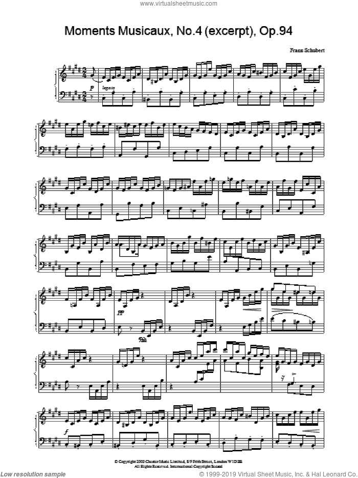 Moments Musicaux, No.4 (excerpt), Op.94 sheet music for piano solo by Franz Schubert, classical score, intermediate skill level
