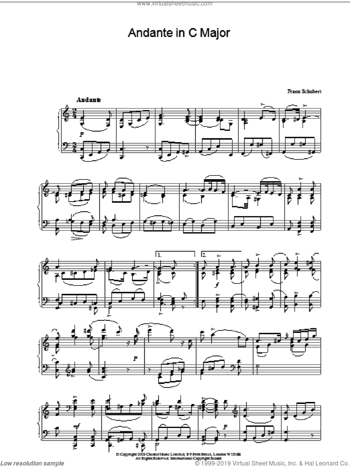 Andante in C Major sheet music for piano solo by Franz Schubert, classical score, intermediate skill level