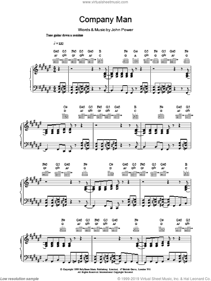Company Man sheet music for voice, piano or guitar by John Power, intermediate skill level