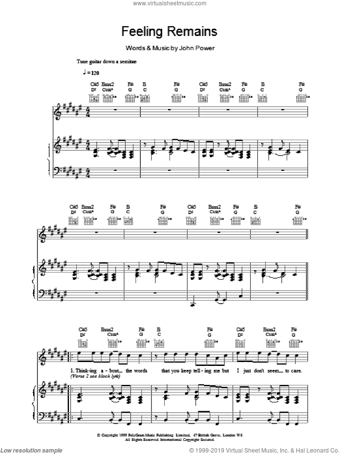 Feeling Remains sheet music for voice, piano or guitar by John Power, intermediate skill level