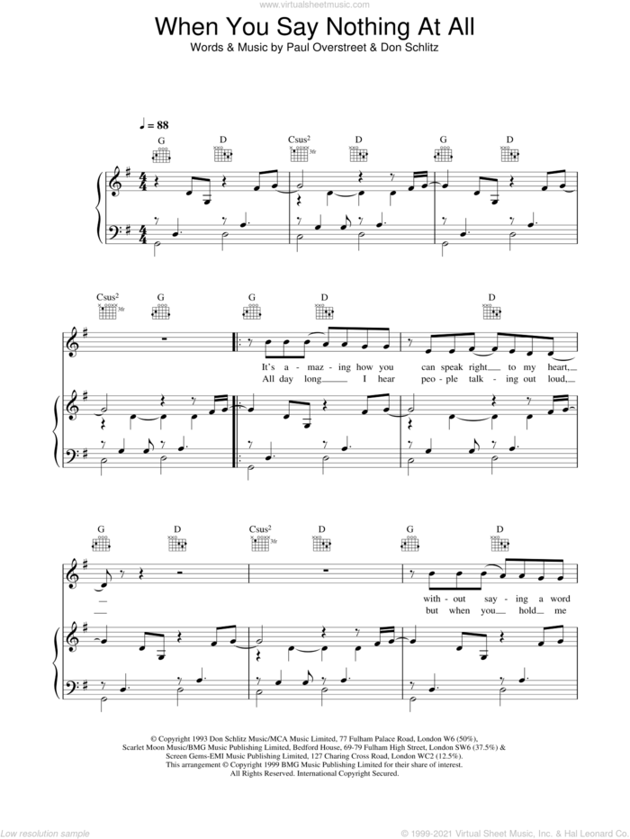 When You Say Nothing At All sheet music for voice, piano or guitar by Ronan Keating, Boyzone, Don Schlitz and Paul Overstreet, intermediate skill level